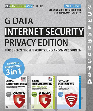 G Data Internet Security - Privacy Edition - 1 PC + ANDROID + VPN / 1 Jahr - Box