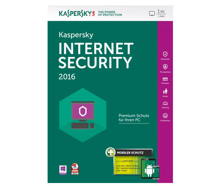 Kaspersky Internet Security 2016 - 1PC / 1 Jahr + Android Sec.