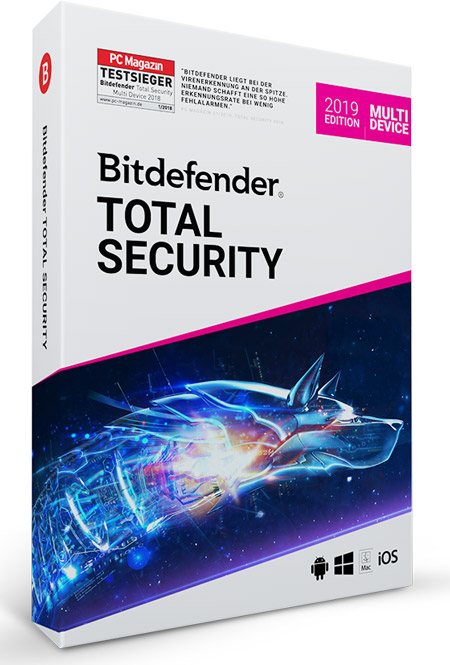 Bitdefender Total Security Multi Device 2019 - 5 User / 1 Jahr -  ESD