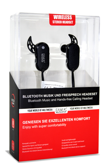EAXUS Wireless Bluetooth V4.0 Headset Stereo Schwarz