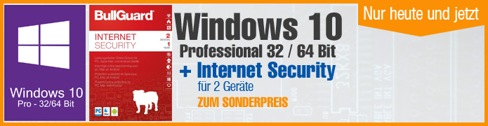 Windows 10 Pro (1 PC) + Bullguard Internet Security (2 User / 1Jahr)  ESD