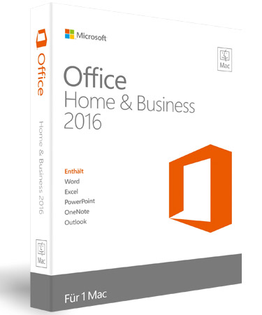 Microsoft Office 2016 Home and Business für Mac - Word, Excel, OneNote, PowerPoint, Outlook - PKC